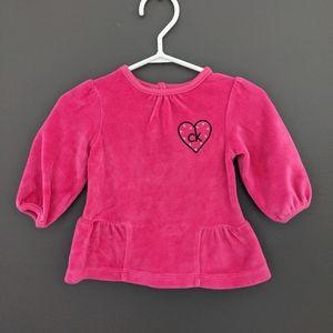 Calvin Klein pink velour long sleeved shirt